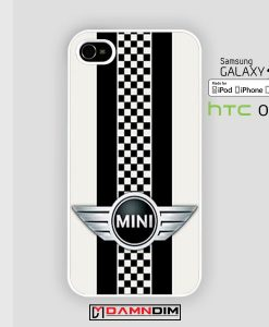 Mini Cooper Style Checkers with Black Stripes iphone case 4s/5s/5c/6/6plus/SE