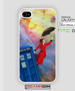 mary poppins Tardis in Nebula iphone case 4s/5s/5c/6/6plus/SE
