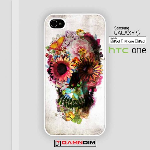 skull flower case for iPhone 4s 5s 6s 6 Plus case, Samsung Galaxy, iPod case, HTC case, Sony Xperia case