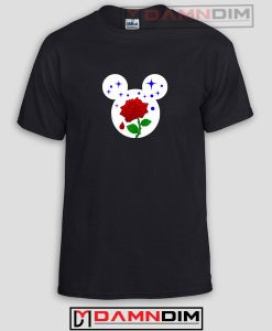 Rose Inside Mickey Mouse Head Funny Graphic Tees