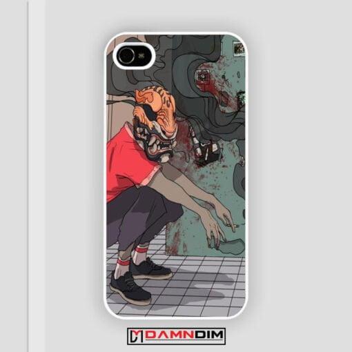 Smoking Tiger Illustrated Kabuki Square iPhone Case