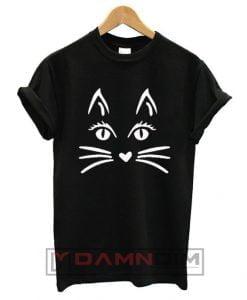 Cat Face Halloween T Shirt