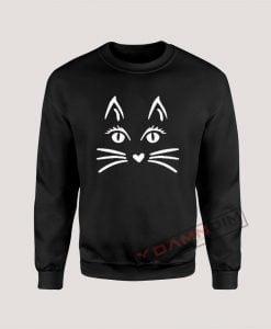 Sweatshirt Cat Face Halloween