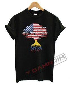 American Flag Colombian Roots Colombia Flag T Shirt