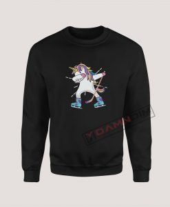 Sweatshirt Dabbing Unicorn With A Hockey Stick