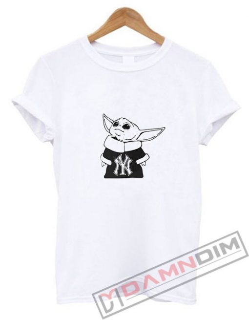 Baby Yoda Yankees Mandalorian Baseball T-Shirt